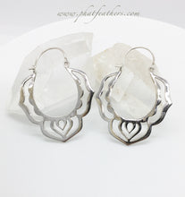 Load image into Gallery viewer, Silver Lotus Hoops