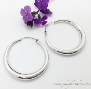 Thin Sterling Silver Hoops
