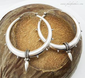Thin Sterling Silver Spike Hoops