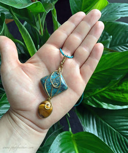 Tigers Eye Chrysocolla Pendant