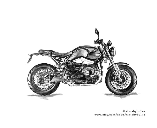 Tinta by Bulka Motorcycle Art Prints