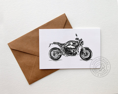 Tinta by Bulka Motorcycle Greeting Cards