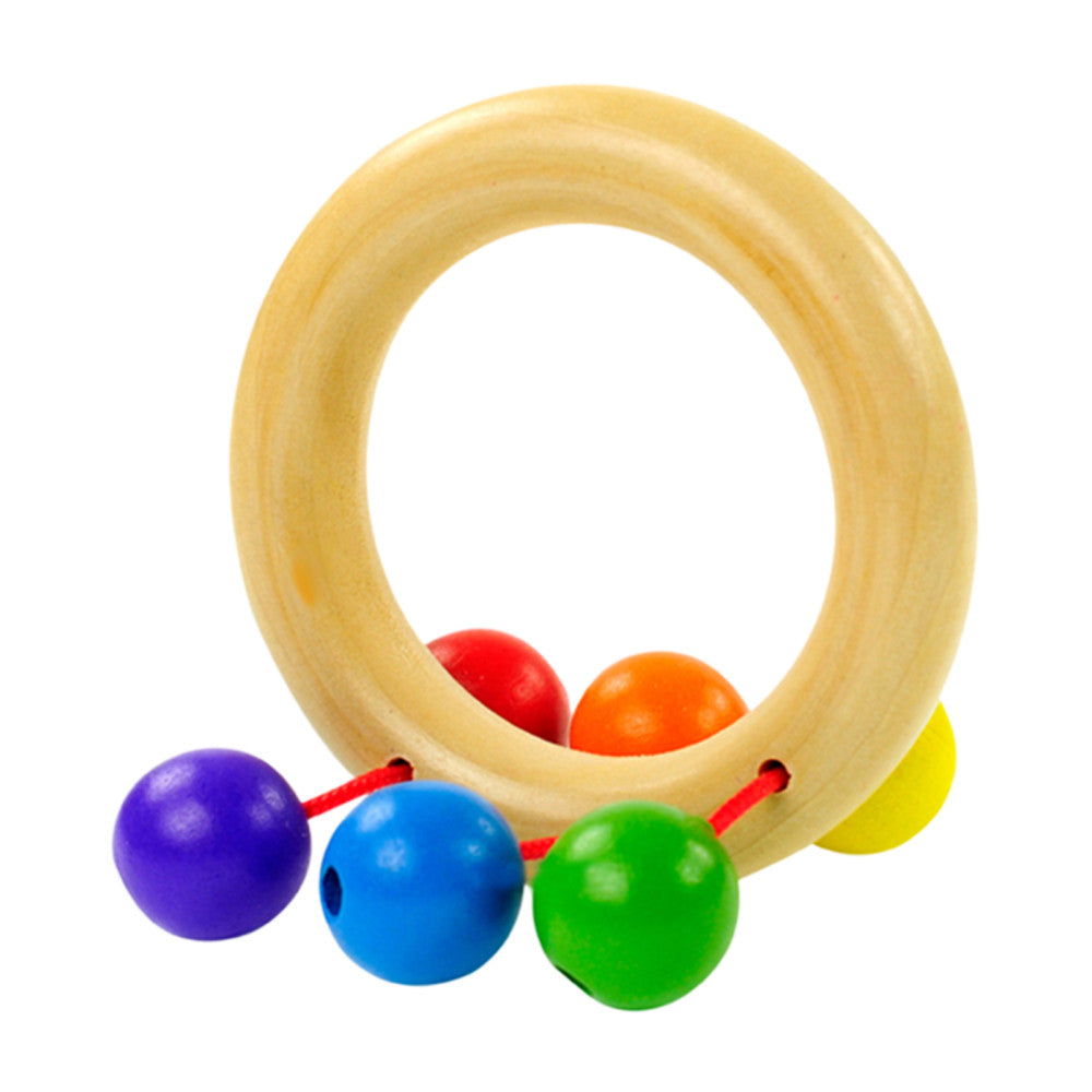 Baby Toys Wooden Bell Rattle Toy Handbell Musical Educational Instrument Toddlers Rattles Handle