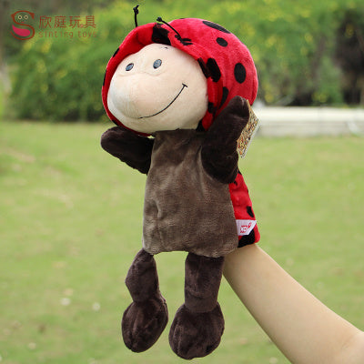 Candice guo! cute cartoon plush toy Nici hippo ladybug wolf giraffe raccoon crocodile stereo hand puppet baby telling story 1pc