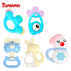 TUMAMA 10pcs/lots New Baby toys Kids Rattle Toddler Music Toy Plastic Baby Rattle Teether Hand Jingle Shaking Bell