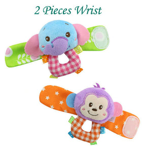 whole 18colors Baby Toys Beads Bracelet Foot Rattles Socks Garden Protect Wrist  Animal Wrist Stripe Foot ring SocksSets gift