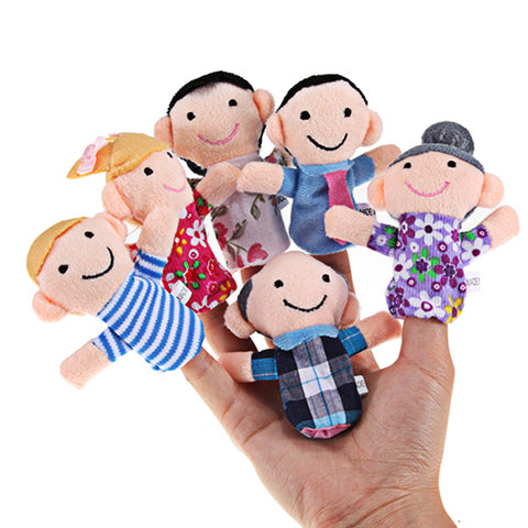 6 Pcs Family Finger Puppets Plush Puppets Cloth Baby Dolls