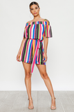 Off the Shoulder Striped Romper - Style Envy Boutique