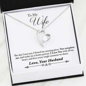 High Polished Heart Pendant Necklace - You Complete Me - Love, Your Husband