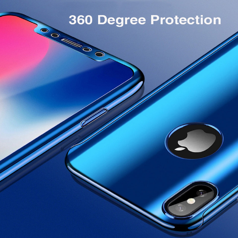 Luxury Mirror 360 iPhone X Case + Tempered Glass