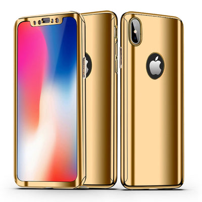 cheap for discount fd6d1 53e2a Luxury Mirror 360 iPhone X Case + Tempered Glass
