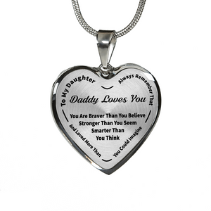 To My Daughter Always Remember - Daddy Loves You Silver Pendant Necklace (Black)