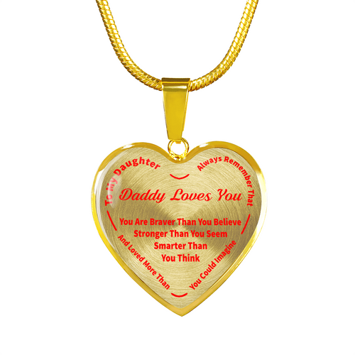 To My Daughter Always Remember - Daddy Loves You 18K Gold Pendant Necklace (Red)