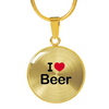 18K Plated I Love Beer Necklace Pendant