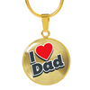 18K Plated Gold I Love Dad Pendant Necklace
