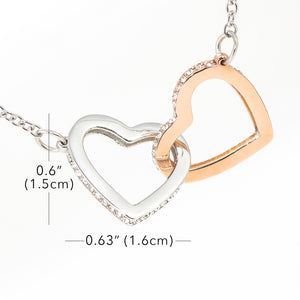 "Double Interlocking Heart Necklace - ""To My Daughter - Love Mom"""