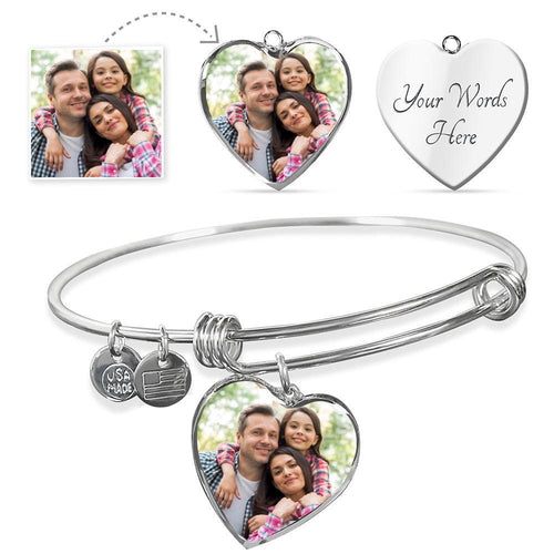 Personalize Your Own Heart Photo Bangle