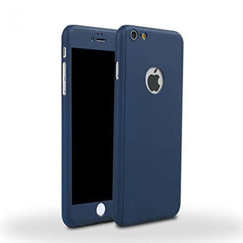 360 Ultra Thin Hard Iphone Case Tempered Glass Blue