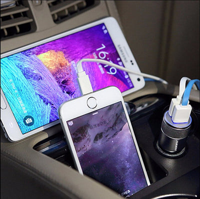 Aluminium dual USB 2-port Universal Car Charger Adapter
