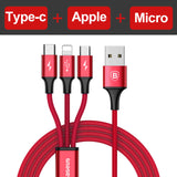 3 in 1 USB Cable For iPhone, Type C, Micro USB