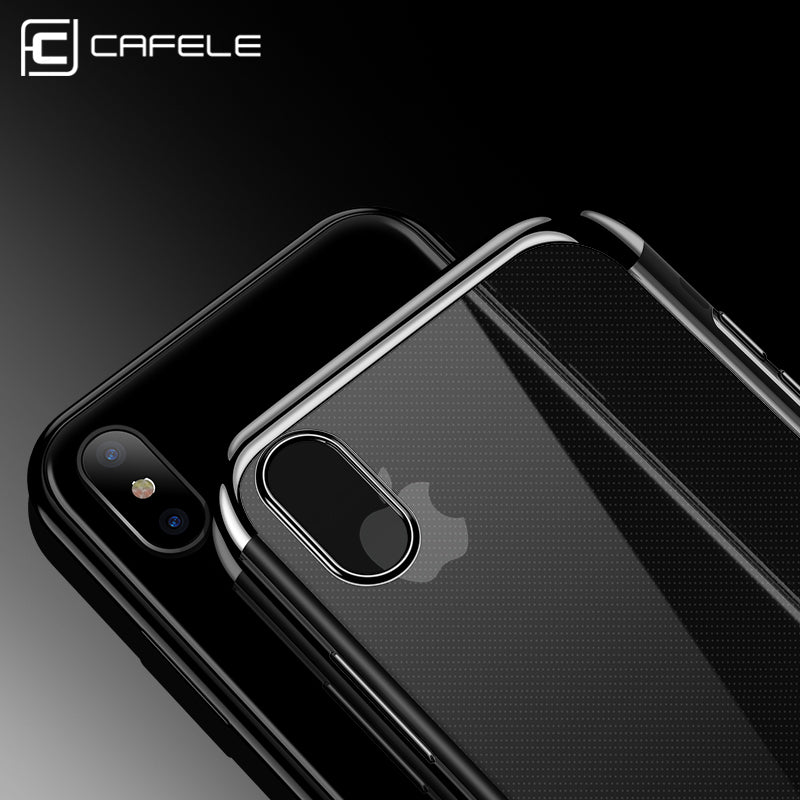 official photos 98838 209a2 CAFELE Transparent TPU Soft Plated iPhone X Case