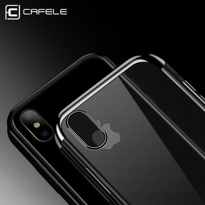 CAFELE Transparent TPU Soft Plated iPhone X Case