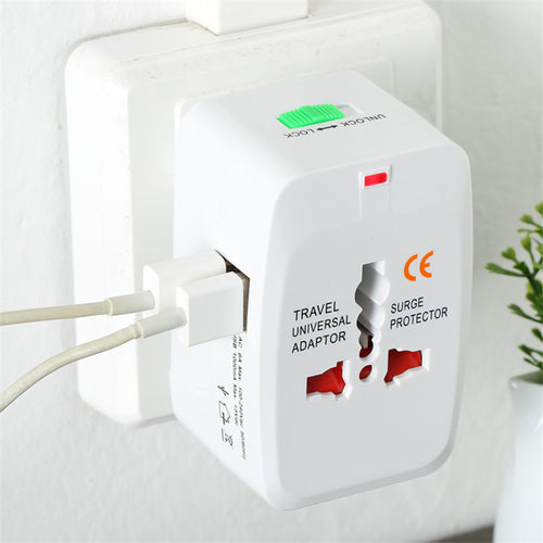 Universal International Converter 2 USB Port AU/UK/US/EU Plug (White)
