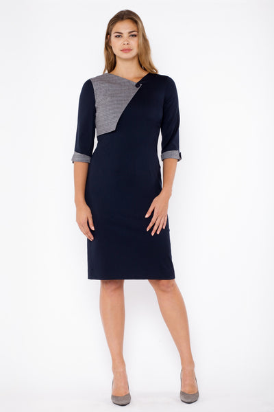 Tilda dress - grey and navy