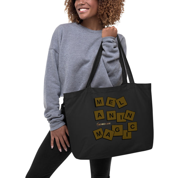 Melanin scramble: Large organic tote bag