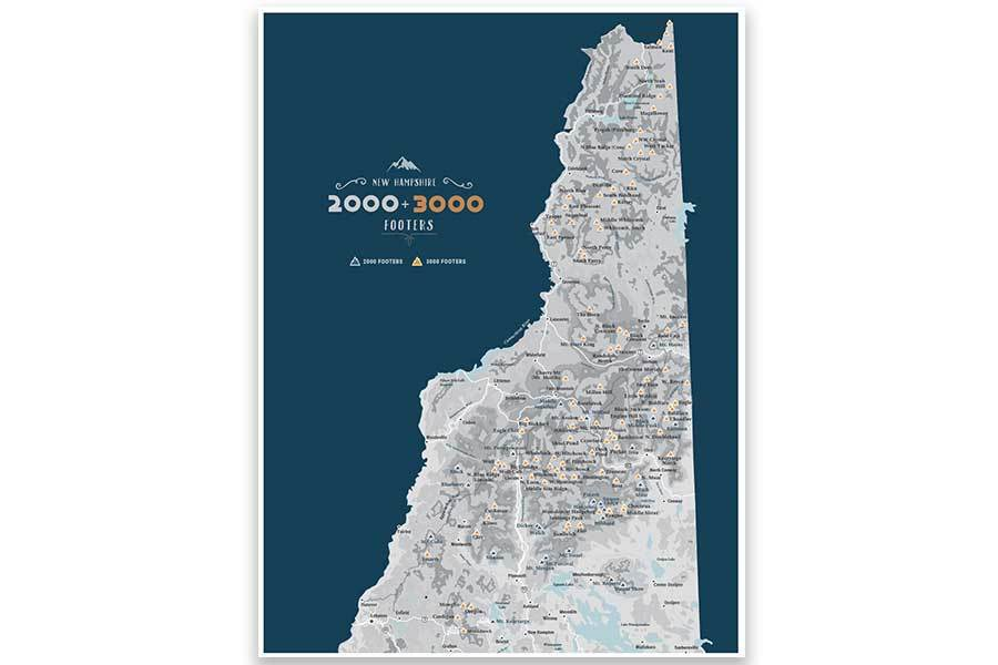 NH 2000 and 3000 Footer Wall Art Canvas, White Mountains Map World Vibe Studio 12X16 navy-gray