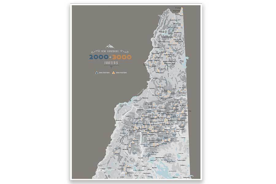 NH 2000 and 3000 Footer Wall Art Canvas, White Mountains Map World Vibe Studio 12X16 brown-gray