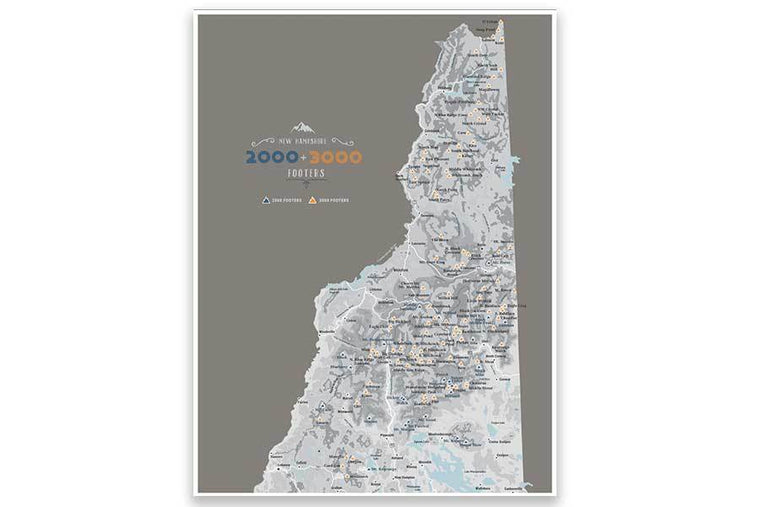 Poster of NH 2000 and 3000 Footers, White Mountains Map World Vibe Studio 12X16 Brown-Gray
