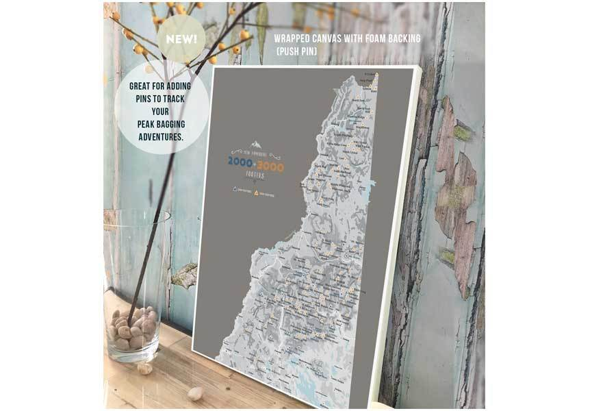 NH 2000 and 3000 Footer Wall Art Canvas, White Mountains Map World Vibe Studio