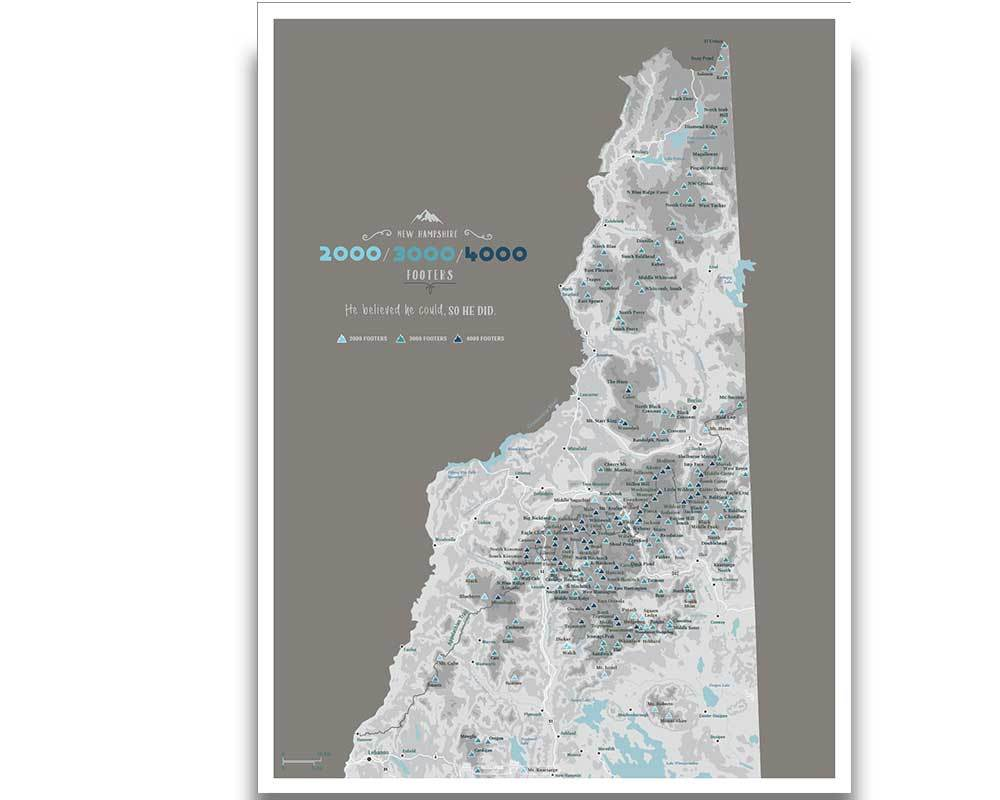 New Hampshire 4000 Footers, Includes 3000 and 2000 Footers, Poster, Many sizes Map World Vibe Studio 18X24