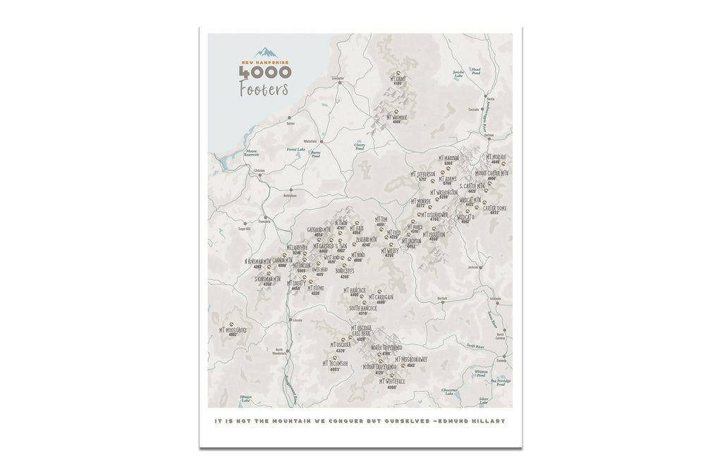 New Hampshire Map, 4000 Footer 48 peaks, Canvas Roll Map World Vibe Studio 12X16 ski-blue