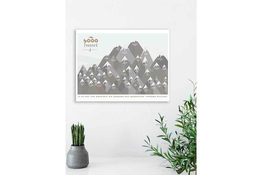 NH 4000 Footer Canvas, White Mountains decor Map World Vibe Studio