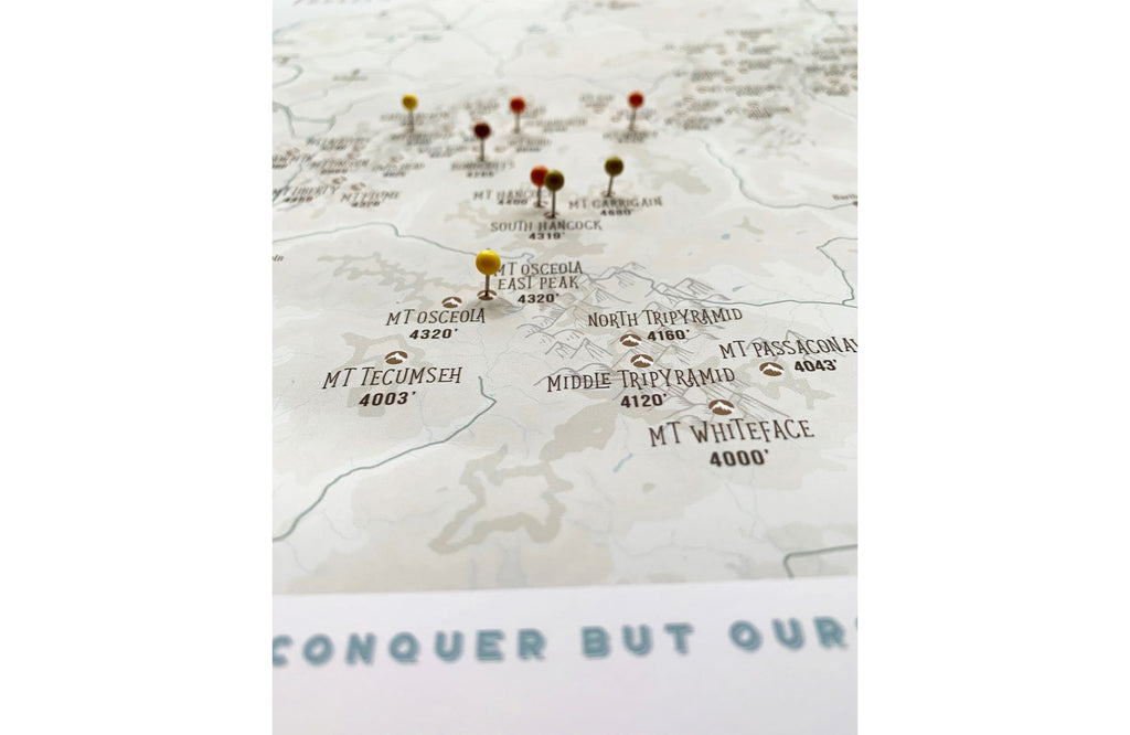 New Hampshire Map, 4000 footer 48 peaks, Canvas, Push Pin Map Map World Vibe Studio