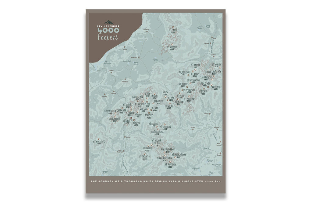 New Hampshire Map, 4000 footer 48 peaks, Canvas, Push Pin Map Map World Vibe Studio 18X24 ski-brown