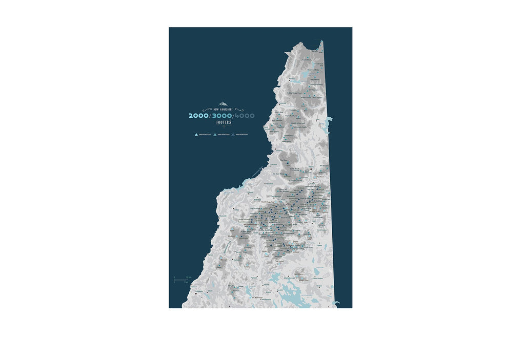 New Hampshire 4000 Footers, Includes 3000 and 2000 Footers, Poster, Many sizes Map World Vibe Studio 12X18 Navy