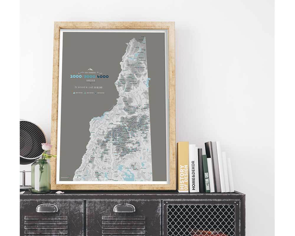 New Hampshire 4000 Footers, Includes 3000 and 2000 Footers, Poster, Many sizes Map World Vibe Studio