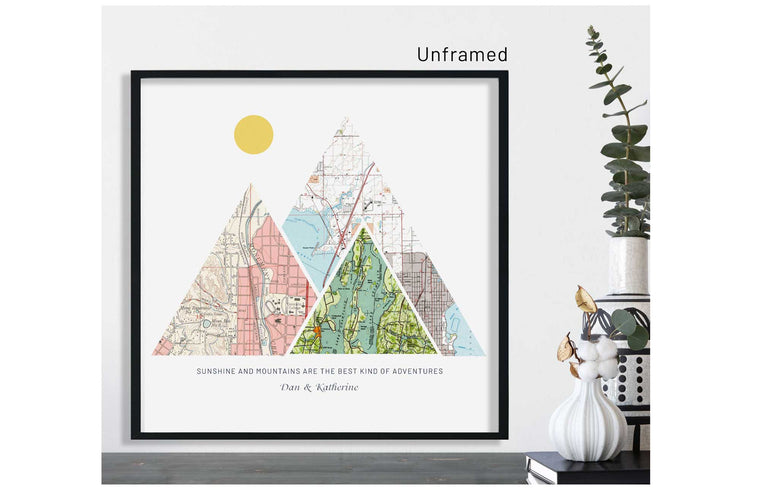 Anniversary Gifts, Paper Anniversary Gift For Her, Mountain Art, Custom City Map Map World Vibe Studio