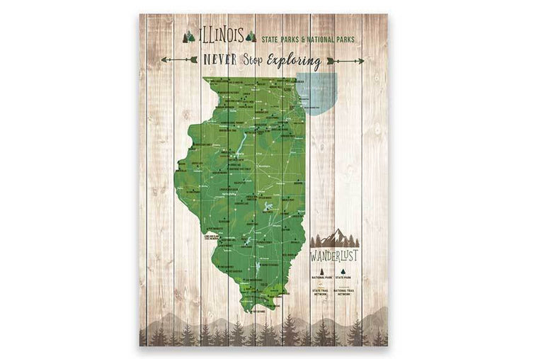 Illinois Map, State park Map, Hiking Wall Decor Map World Vibe Studio 12X16 Green