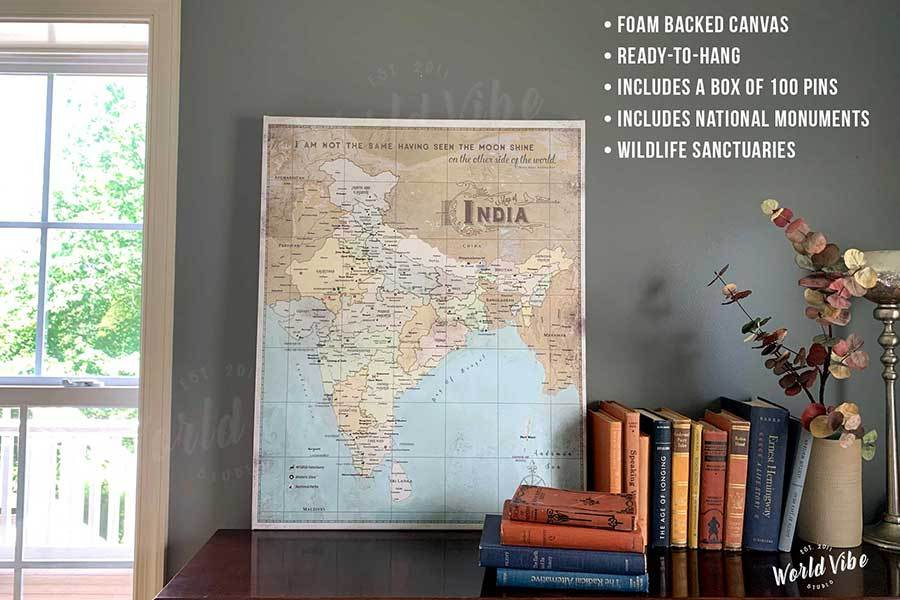 India Map, Canvas Wall Art, Pin Board Map World Vibe Studio