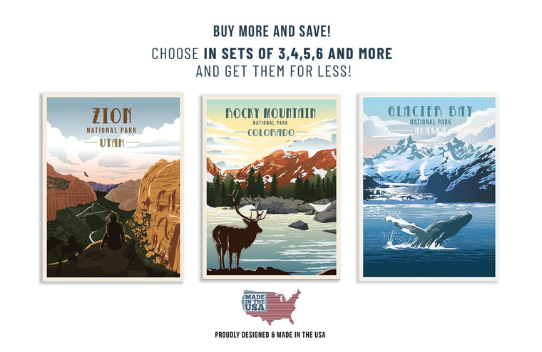 National Parks Poster Set, 63 National Parks, Mix 'n Match, Saver Bundle World Vibe Studio