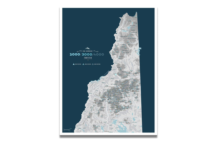 New Hampshire 2000, 3000 & 4000 Footer Canvas, White Mountains Map World Vibe Studio 12X16 navy-gray
