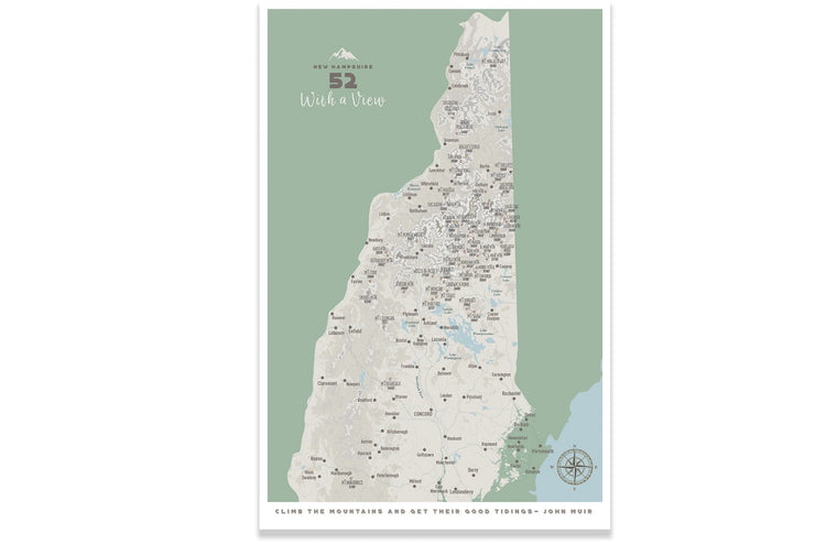 New Hampshire Wall Art, 52 With a View, NH 52 Poster, PRINT ONLY, Unframed Map World Vibe Studio 18X24 Muted Green