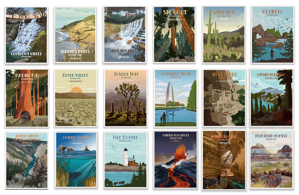 National Parks POSTER SET, Saver Bundle, 63 National Parks, Mix 'n Match World Vibe Studio