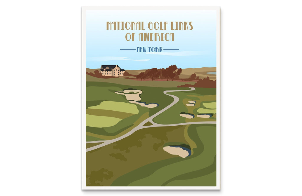 National Golf Links of America Poster, New York, Golf Clubs of America, Unframed Map World Vibe Studio