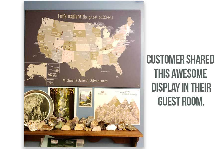 Foam Mounted National Park Poster, Rustic Tan Map World Vibe Studio