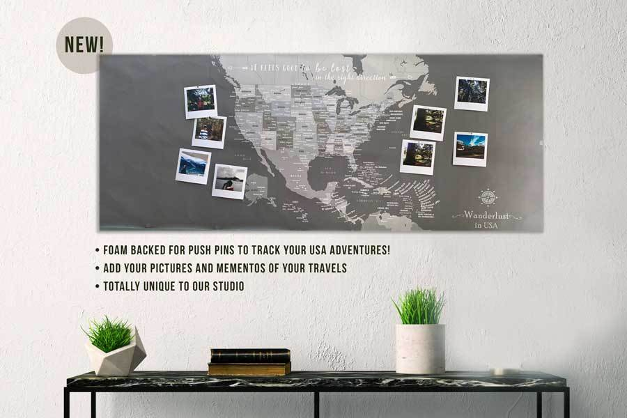 US Canvas Map with Caribbean, Photo Board Map World Vibe Studio